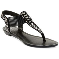 Madden Girl Triixie T-Strap Flat Sandals ($39) ❤ liked on Polyvore featuring shoes, sandals, black, black t strap sandals, t-bar sandals, sparkly flat sandals, sparkly flat shoes and black shoes