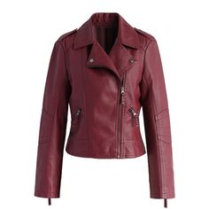 Chicwish Chic and Stylish Faux Leather Biker Jacket in Wine ($62) ❤ liked on Polyvore featuring outerwear, jackets, chicwish, red, biker jacket, faux leather jacket, vegan moto jacket, red biker jacket and zip jacket