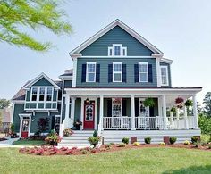 Farmhouse - Click image to find more Home Decor Pinterest pins I love the style and the porch! I'd have a gazebo on either the back corner or the Front.
