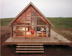 Excellent Gardening Ideas On Your Utilized Espresso Grounds Newly Constructed Prefabricated House On Block Island With Large Wrap Around Deck Photographic Print By John Zimmerman At Small Log Cabin, Log Cabin Homes, Diy Cabin, Small Barn Home, Wrap Around Deck, Tiny House Design, Small House Diy, Simple House, Small House Living