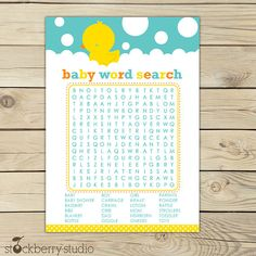 Rubber Ducky Baby Shower Printable Word Search by stockberrystudio Ducky Baby Showers, Rubber Ducky Baby Shower, Baby Shower Duck, Baby Shower Yellow, Baby Shower Games, Baby Shower Clipart, Baby Shower Wording, Baby Shower Printables, Toddler Bottles