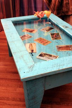 Display Coffee Table Tempered Glass Display Table Rustic Shadowbox Table Turquoise Table 40 l x 24 w x 18 t Distressed Turquoise Finish - Display coffee table, Glass top coffee table, Shadow box coff - Unique Coffee Table, Glass Top Coffee Table, Coffee Tables, Glass Table, Wooden Pallet Furniture, Wooden Pallets, Creme Sofa, Furniture Projects, Diy Furniture