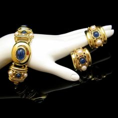 Exquisite #joanrivers Faux #lapis and Pearl #bracelet and #earrings Set Great #bridal #gift from #myclassicjewelry on #etsy See more Elegant Vintage Jewelry Sets in my Shop: https://www.etsy.com/shop/MyClassicJewelry?section_id=13109955
