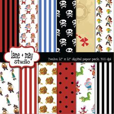 jake and the neverland pirates themed digital scrapbook papers. $7.50, via Etsy.