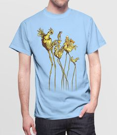 Dali Chocobos | Video Game Art T-Shirt with Final Fantasy 7 Chocobos in the surrealist art style of Salvador Dali. Pictured: Blue Mens Tee Shirt