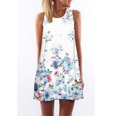 Vestidos 2017 New Style Summer Dress Sleeveless Floral Print Casual Women Dress Above Knee Plus Size Women Clothing Dresses