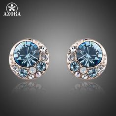 Blue Eyes Rose Gold Color Stellux Austrian Crystal Round Stud Earrings