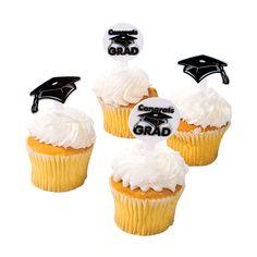 """White """"Congrats Grad"""" Food Picks - OrientalTrading.com"""