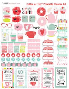 Special Intro Price: Coffee or Tea? Printable Planner Kit 4 PDF Sheets Over 200 Yummy Stickers, Bible verses, Coffee Quotes, Donuts, Macaroons,