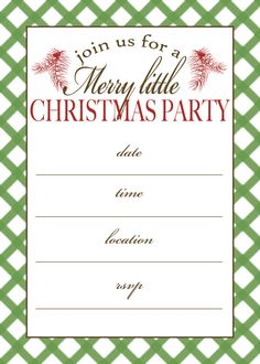 Free Printable Christmas Party Invitation, easy to download and print. Invite friends and family to your Christmas Party with this awesome freebie!