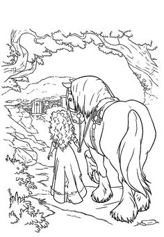 Merida Princess Take Her Horse Home Coloring Pages