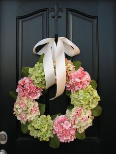 Spring Wreaths Hydrangea Wreath - Pink and Green