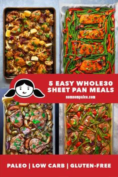 These 5 easy Whole30 sheet pan meals are guaranteed to be a hit with the whole family. Great for an easy low carb weeknight dinner that's paleo friendly and gluten free. Plus, they make for easy cleanup! Whole30 Dinner Recipes, Paleo Recipes, Real Food Recipes, Easy Recipes, Yummy Food, Paleo Whole 30, Whole 30 Recipes, Pan Pork Chops, Sheet Pan Suppers
