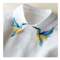 Newly Design Fashion Heavy bird embroidery necklace vest blouse Shirt false Collar neck Women Detachable Vertical Small Lapel - Shirt Casuals - Ideas of Shirt Casual - Newly Design Fashion Heavy bird embroidery necklace vest blouse Shirt eefury Bird Embroidery, Embroidery Fashion, Hand Embroidery Patterns, Embroidery Dress, Embroidery Stitches, Sewing Patterns, Beginner Embroidery, Embroidery Sampler, Simple Embroidery