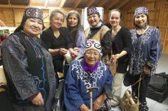 This is a group of Ainu performers and North American First Nations cedar bark weaving instructors.