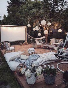 Bohemian Garden Backyard and Patio Ideas Outdoor Spaces, Outdoor Living, Outdoor Decor, Party Outdoor, Decoration Inspiration, Decor Ideas, Tv Decor, Style Inspiration, Design Case