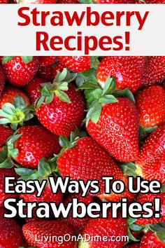 Here are some easy and delicious strawberry recipes that are perfect for when you find a good sale or are just overwhelmed with strawberries! Here are some easy strawberry recipes and ideas of great ways to use strawberries for you! Healthy Strawberry Recipes, Healthy Dessert Recipes, Healthy Popsicles, Drink Recipes, Strawberry Plants, Strawberry Wine, Strawberry Preserves, Strawberry Picking, Strawberry Shortcake