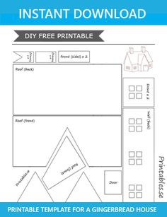 gingerbread house template Template for gingerbread house 7 Homemade Gingerbread House, Cardboard Gingerbread House, Halloween Gingerbread House, Gingerbread House Patterns, Gingerbread House Parties, Gingerbread Houses, Cardboard Houses, Gingerbread House Template Printable, Templates Printable Free