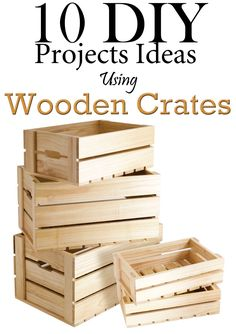 This collection of 10 DIY Projects Ideas Using Wooden Crates is to give you a lot of ideas about how you can use old crates (Diy Furniture Projects) Uses For Wooden Crates, Diy Wooden Crate, Wood Crates, Wooden Crafts, Wooden Boxes, Diy Furniture Projects, Cool Diy Projects, Wooden Crate Furniture, Crate Crafts