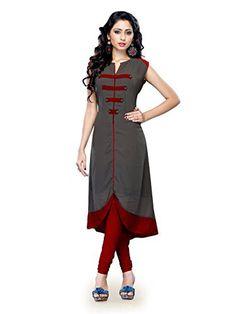 Khushali Presents Georgette Kurti(Grey,red)