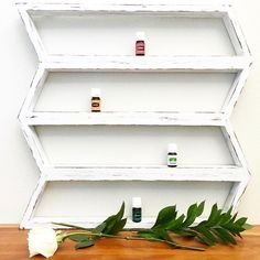 Essential oil shelf shown in distressed white, available in 10 colors!