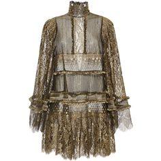 Roberto Cavalli     Metallic Turtleneck Lace Short Dress ($7,210) ❤ liked on Polyvore featuring dresses, roberto cavalli, gold, smocked dresses, brown turtleneck, short lace cocktail dress, turtleneck dress and lace turtleneck tops