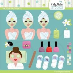 Items similar to Time for a Spa Day - Clip Art Set on Etsy Spa Birthday Parties, Spa Party, Spa Cookies, Clip Art, Cookie Ideas, Handmade Gifts, Party Ideas, Etsy, Relax