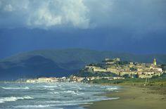 The storm is coming... on Castiglione della Pescaia and its empty beach. #maremma #tuscany #sea #mare #beach