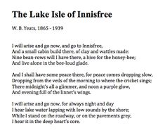 The Lake Isle of Innisfree - W.B. Yeats