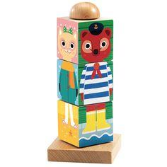 Rompecabezas vertical de madera que gira sobre un eje, para crear divertidas combinaciones de animales. Cuenta con un eje central con base de madera sobre el que giran 3 cubos de madera con diferentes diseños de cara y cuerpo de animales. Los cubos cuentan con diferentes imágenes en cada una de las 4 caras del cubo. Presentado en práctica caja de almacenamiento.