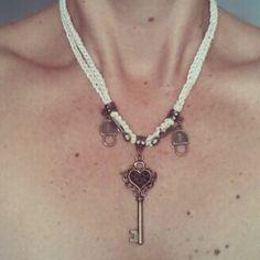 La chiave giusta ...#necklace #keys #key #handmade #bijoux #collana #heart #fattoconamore #padlock #lucchetto