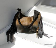 Ombre hair on hide leather brown khaki oversized hobo fringe bag fringed purse bohemian boho by sweet smoke bags tribal leather