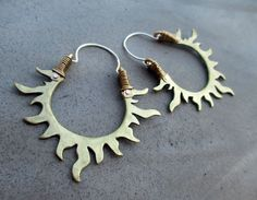 Solar Passion Hoop Earrings Golden Sun Flames by SilviasCreations, $79.00