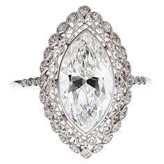 Marquise Cut Diamond & Platinum Filigree Ring w/ GIA