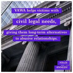 One of programs is designed to help victims with civil legal needs, and research indicates that the practical nature of these services gives victims long-term alternatives to abusive relationships. Abusive Relationship, Relationships, Domestic Violence, Human Rights, Civilization, October 2014, Purple, Nature, Purple Stuff