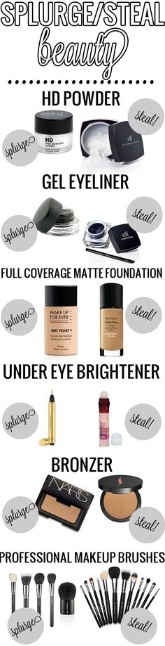 Splurge / Steal Beauty. Great dupes! #beauty #makeup