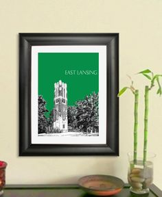 East Lansing Skyline Poster  East Lansing Michigan by DBArtist
