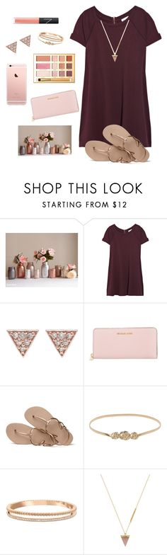 """""""Pink & Rose Gold"""" by aclaireb-1 ❤ liked on Polyvore featuring Vanessa Bruno, ADORNIA, MICHAEL Michael Kors, Havaianas, Swarovski, Wolf Circus and NARS Cosmetics"""