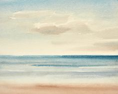 Cerulean seas original watercolour painting by Timothy Gent. Capturing the light and movement over the sea. Available in the Timothy Gent Gallery online. #sea #beach#seascape #sunset #contemporary #originalpainting #art #painting #artforsale Watercolor Sunset, Watercolour Painting, Watercolours, Art Paintings For Sale, Original Paintings, Beach Lighting, Cerulean, Original Art For Sale, Seascape Paintings