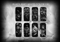 Nail Art by Lilija Michalíková. Black And White Flowers, Black And White Colour, Gel Nail Art, Gel Nails, Color, Gel Nail, Colour, Colors