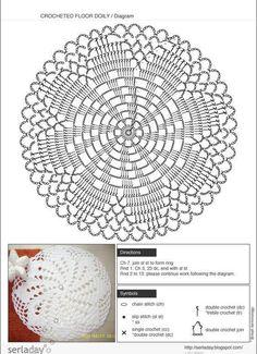 Crochet Doily Rug – Free Pattern - Her Crochet Crochet Doily Rug, Crochet Rug Patterns, Crochet Pillow Pattern, Crochet Dollies, Crochet Circles, Crochet Doily Patterns, Crochet Tablecloth, Crochet Diagram, Crochet Chart