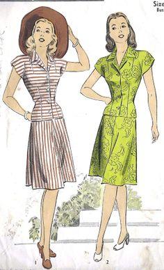 "1940s Misses Two Piece Dress Vintage Sewing Pattern, DuBarry 6053  bust 30"" uncut"