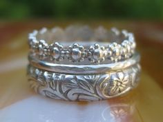 Antique Style Stacking Rings Set of 3 Sterling Silver Floral Flower Theme Perfect Thumb Rings CUSTOM FOR YOU. $62.00, via Etsy.