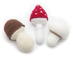 1 Pcs  Crochet  mushrooms teether teeth play food by MiniMoms