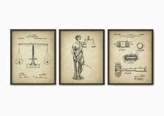 Attorney Office Decor Set Of 3 Prints - The Lady Justice - Law - Lawyer - Solicitor - Barrister - Judge - Court - American Legal System Art