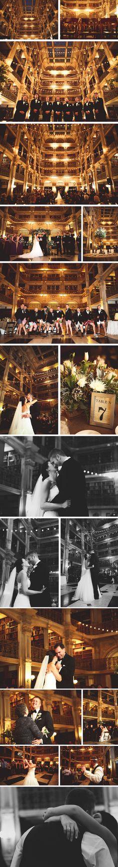 George Peabody Library Historic Baltimore Maryland Wedding Venue   Winter Wedding Cafe Lights Ceremony Literary  peabodyevents.library.jhu.edu