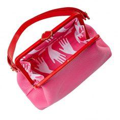 Lulu Guinness 'Florence' handbag in peony and red leather Lulu Guinness, Peony, Florence, Red Leather, Gym Bag, Handbags, My Style, Clothing, Fashion