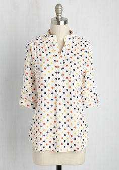 Chef Executive Officer Top - Multi, Ivory, Polka Dots, Work, Nautical, 3/4 Sleeve, Summer, Better, Collared, Mid-length, Buttons, Pockets