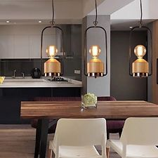 MSTAR Vintage Metal And Wooden Pendant Lights Simple Natural Wood Pendant Lamps