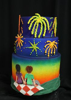Fireworks Cake by Amanda Oakleaf Cakes, via Flickr